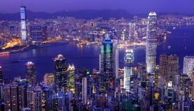 Hong Kong Victoria Harbor at Night Royalty Free Stock Image