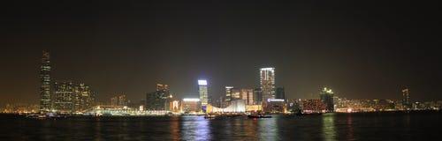 Hong Kong Victoria Harbor Night avkänning Arkivbilder
