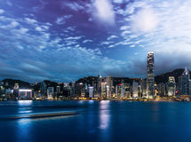 Hong Kong Victoria harbor night scene Royalty Free Stock Photography