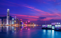 Hong Kong Victoria harbor night scene Royalty Free Stock Images