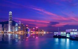 Hong Kong Victoria harbor night scene Royalty Free Stock Images