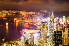 Hong Kong Victoria Harbor night view Stock Images