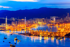 Hong Kong Victoria Harbor night view Royalty Free Stock Images