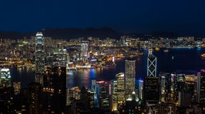 Hong Kong Victoria Harbor på natten Arkivfoto