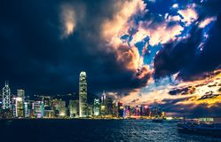 Hong Kong Victoria Harbor day and night Stock Image