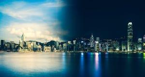 Hong Kong Victoria Harbor day and night royalty free stock image