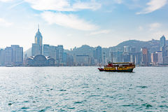 Hong Kong Victoria harbour and city in background Royalty Free Stock Images