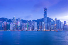 Hong Kong Victoria Harbour cityscape at night. Stock Photos