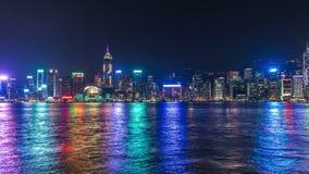 Hong Kong Victoria Harbour horisont på natten 4K TimeLapse - Augusti 2016, Hong Kong stock video