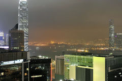 Hong Kong Victoria Harbour nattsikt arkivfoton