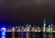 Hong Kong Victoria Harbour Night Scene Stock Photos