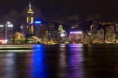 Hong Kong Victoria Harbour The pärla av Orienten en symfoni av för nattsikt för ljus panorama- horisont Royaltyfri Foto