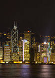 Hong Kong Victoria Harbour The pärla av Orienten en symfoni av för nattsikt för ljus panorama- horisont Royaltyfri Bild