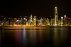 Hong Kong Victoria Harbour The Pearl of the Orient A Symphony of Lights Panoramic Night View Skyline Royalty Free Stock Images