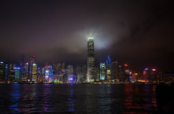 Hong Kong Victoria Harbour Skyline at Night Stock Photography