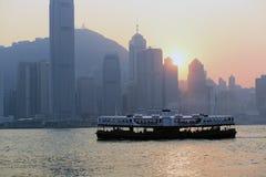 Hong Kong Victoria Harbour solnedgångsikt Royaltyfri Foto