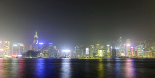 Hong Kong Victoria Harbour solnedgångsikt Arkivfoton