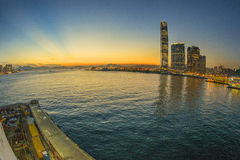 Hong Kong Victoria Harbour Sunset Royaltyfri Foto