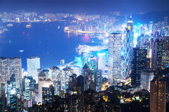 Hong kong from the Victoria peak Stock Photography