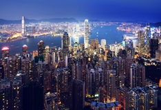 Hong kong from the Victoria peak Royalty Free Stock Photography