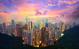 Hong Kong from Victoria Peak. Famed skyline of Hong Kong from Victoria Peak Royalty Free Stock Images