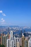 Hong Kong view. A traditional view from the Peak to see Hong Kong, with skycrapers and many modern buildings Royalty Free Stock Image