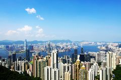 Hong Kong view. A traditional view from the Peak to see Hong Kong, with skycrapers and many modern buildings Stock Photography