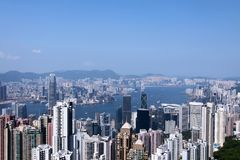 Hong Kong view. A traditional view from the Peak of Hong Kong Stock Images