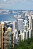 Hong Kong view. View over Hong Kong from Victoria peak showing a modern asian city with skyscrapers and harbour stock photography