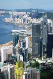 Hong Kong view. View over Hong Kong from Victoria peak showing a modern asian city with skyscrapers and harbour stock photos