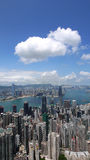 Hong Kong view. View over Hong Kong from Victoria peak showing a modern asian city with skyscrapers and harbour stock photo