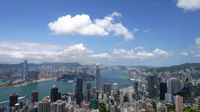 Hong Kong view. View over Hong Kong from Victoria peak showing a modern asian city with skyscrapers and harbour stock image
