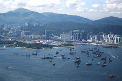 Hong Kong view. View over Hong Kong from Victoria peak showing a modern asian city royalty free stock photography