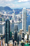 Hong Kong view. View over Hong Kong from Victoria peak showing a modern asian city with skyscrapers and harbour royalty free stock photo
