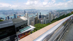 Hong Kong view. View over Hong Kong from Victoria peak showing a modern asian city with skyscrapers and harbour royalty free stock image