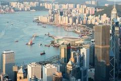 Hong Kong. The view of hong kong buildings and victoria harbor Stock Photo