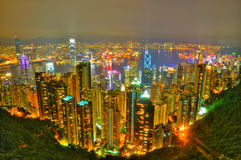 Hong Kong view from The Peak. Aerial view of spectacular Hong Kong Central area from The Peak at night Stock Image