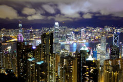 Hong Kong view from the peak at night Royalty Free Stock Images