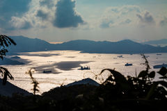 Hong Kong view with sea and clouds. A view from Victoria Peak in HongKong, China Royalty Free Stock Images