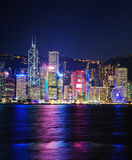 Hong Kong. View of the skyline of Hong Kong island at night stock photography