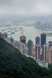Hong Kong view from top of victoria park stock photo