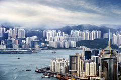 Hong Kong view of Victoria Harbor Stock Images