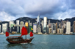 Hong Kong view of Victoria Harbor Royalty Free Stock Photos