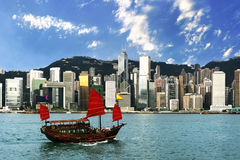 Hong Kong view of Victoria Harbor Royalty Free Stock Image