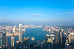 Hong Kong view from Victoria Peak Royalty Free Stock Photos