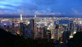 Hong Kong view from The Victoria Peak at night stock photo
