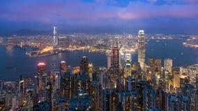 Hong Kong von der Spitze in der Dämmerung Lizenzfreies Stockbild