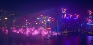 Hong Kong-vuurwerk 2014 Stock Fotografie
