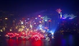 Hong Kong-vuurwerk 2014 Stock Foto's