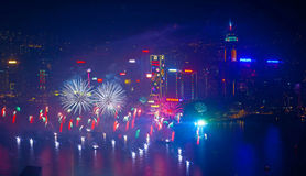 Hong Kong-vuurwerk 2014 Stock Foto
